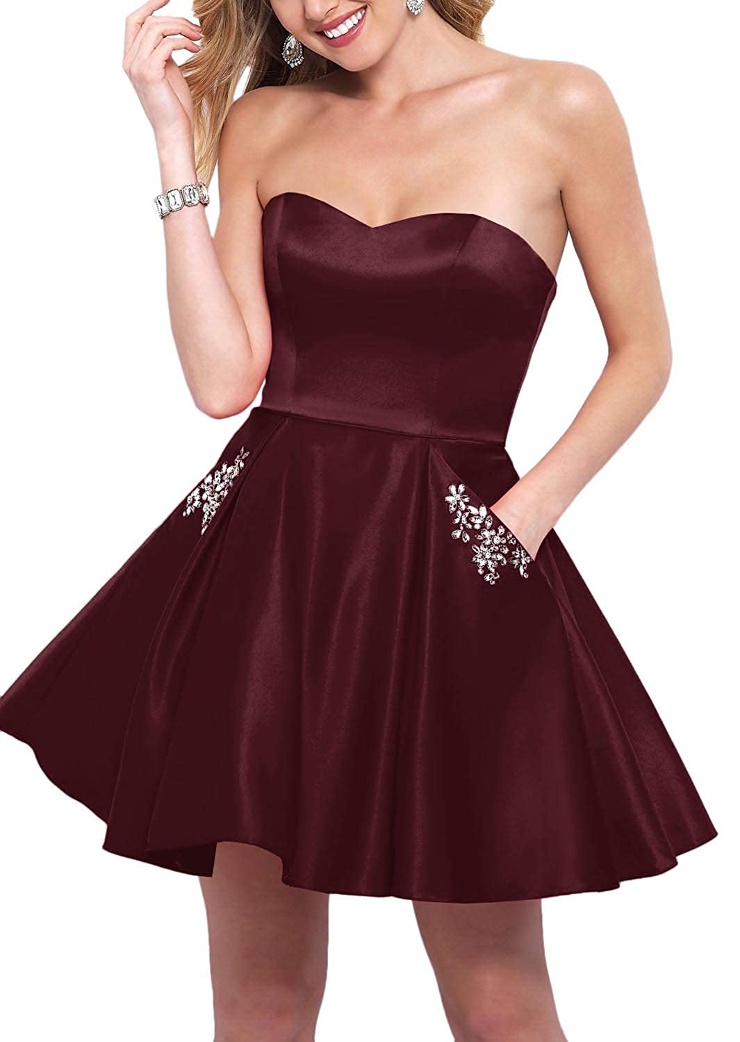 Burgundy YnanLi Dress Short Ball Gown Homecoming Dresses 2019 Strapless Sweetheart with Beaded Pockets