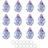 HDCRYSTALGIFTS Suncatcher Crystal 50mm AB Loquat Shape Chandelier Parts Drops Prisms Hanging Pendants 50mm,Pack of 12