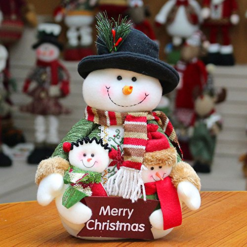 Merry Christmas Ornaments Gifts--Snowman/Santa Claus Stuffed Doll Toys for Indoor/Desk/Tree Decor