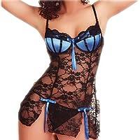 RJDJ Women Underwear Summer Lingerie Bow Lace Racy Underwear+G-String Suit Temptation Sexy Halter Plus Size Sleepwear