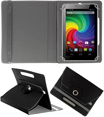 Acm Rotating Leather Flip Case Compatible with Micromax Funbook Mini P410i Cover Stand Black Tablet Bags, Cases   Sleeves