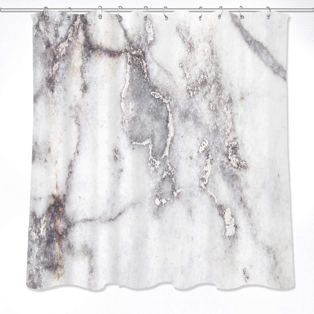 LB Décor de Rideau de Douche en marbre, Texture de marbre Jaune, Rideau de Douche décoratif imperméable de Salle de Bains de Tissu de Polyester réglé avec 12 Crochets, 150X180cm JinShiZhuan