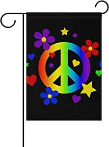 """Monaca Peace Sign Colorful Flowers Welcome Garden Flag Vertical Double Sided Spring Summer Welcome Yard Decor 12""""x 18"""""""