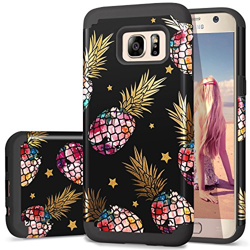 S7 Case Pineapple,Galaxy S7 Cases,Fingic Pineapple&Shinny Star Design Black Case 2 in 1 Hybrid Case Hard PC&Soft Rubber Protective Case for Girls Cover for Samsung Galaxy S7(G930) ONLY,Black