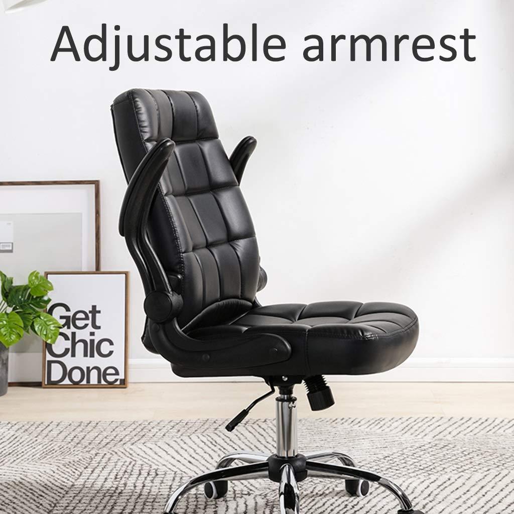 ZZHZY BBGS Verkställande kontorsstol, svängbar stol med justerbar höjd, datorstol i fuskläder, mitten av ryggen ergonomisk stol, 3 färger (färg: Brun) vit