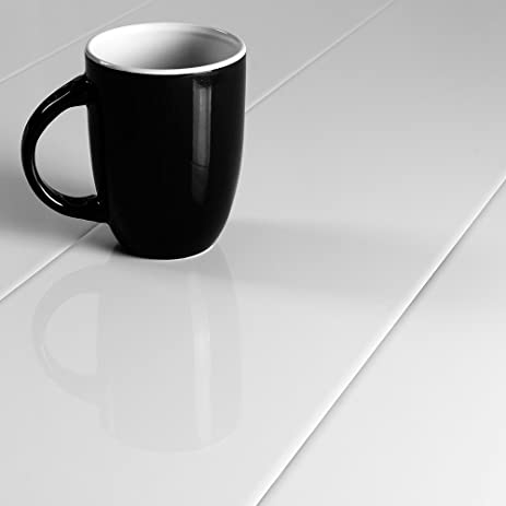 Elesgo Super Gloss White 87mm Laminate Flooring Sample Amazon