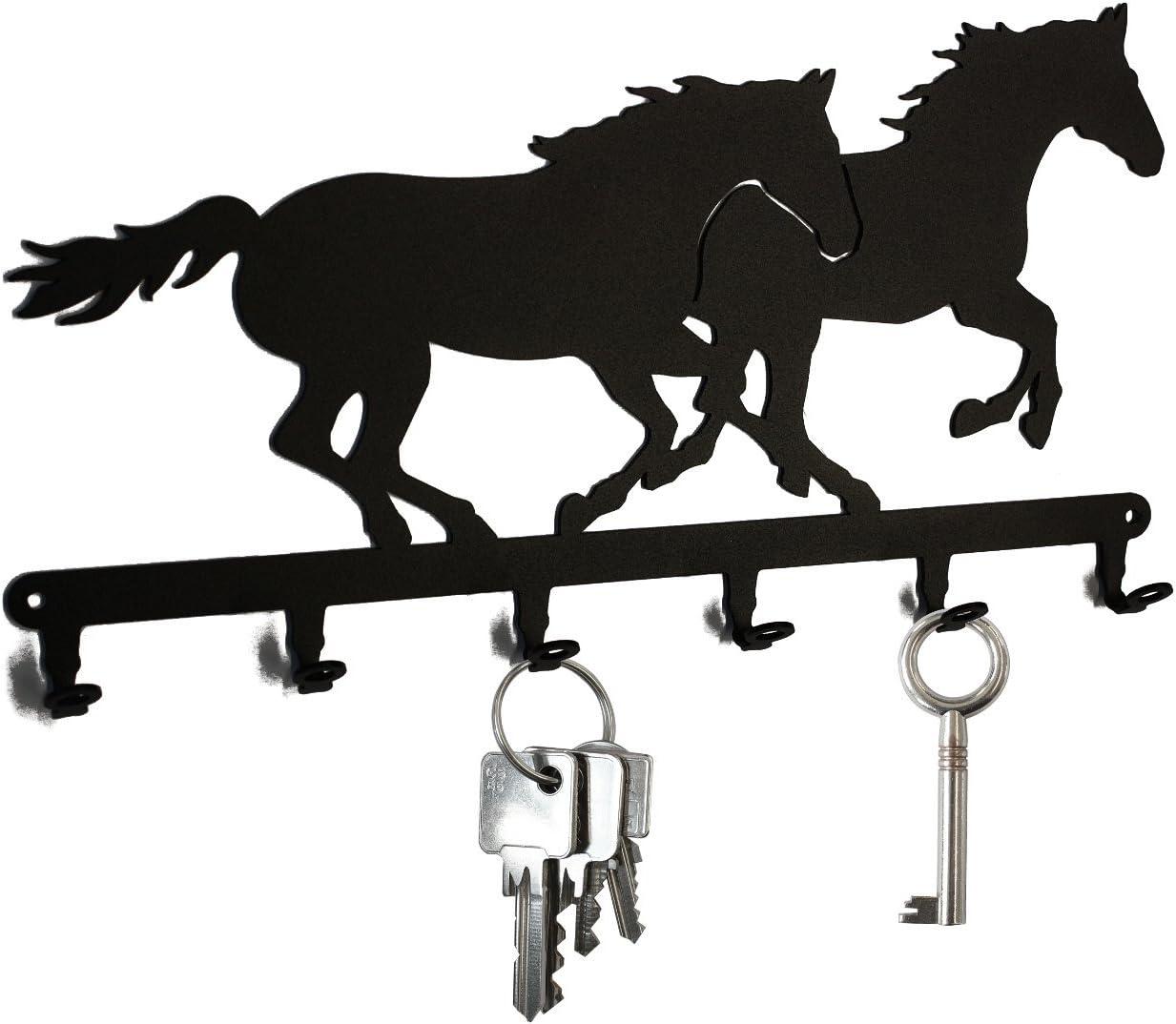 Tablero de llaves * Caballo de Carreras * - ganchos para llaves - 6 Ganchos - negro