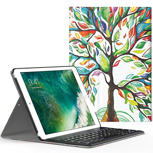 MoKo Keyboard Case for iPad 9.7 2018/2017 - Wireless Keyboard Cover Case for Apple All-New iPad 9.7 Inch 2018 & 2017 Release Tablet, Lucky TREE by MoKo