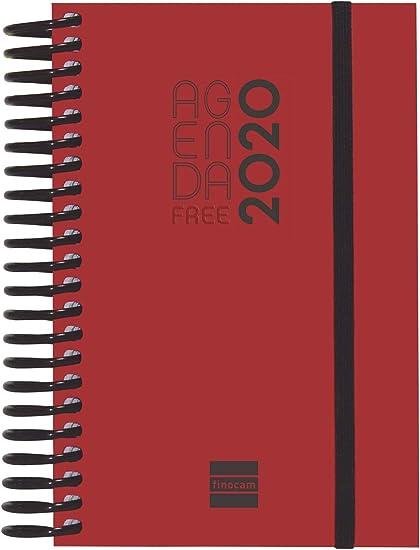 Finocam - Agenda 2020 1 día página Espiral Free Rojo catalán ...