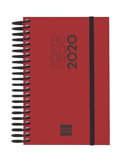 Finocam - Agenda 2020 1 día página Espiral Free Rojo español ...