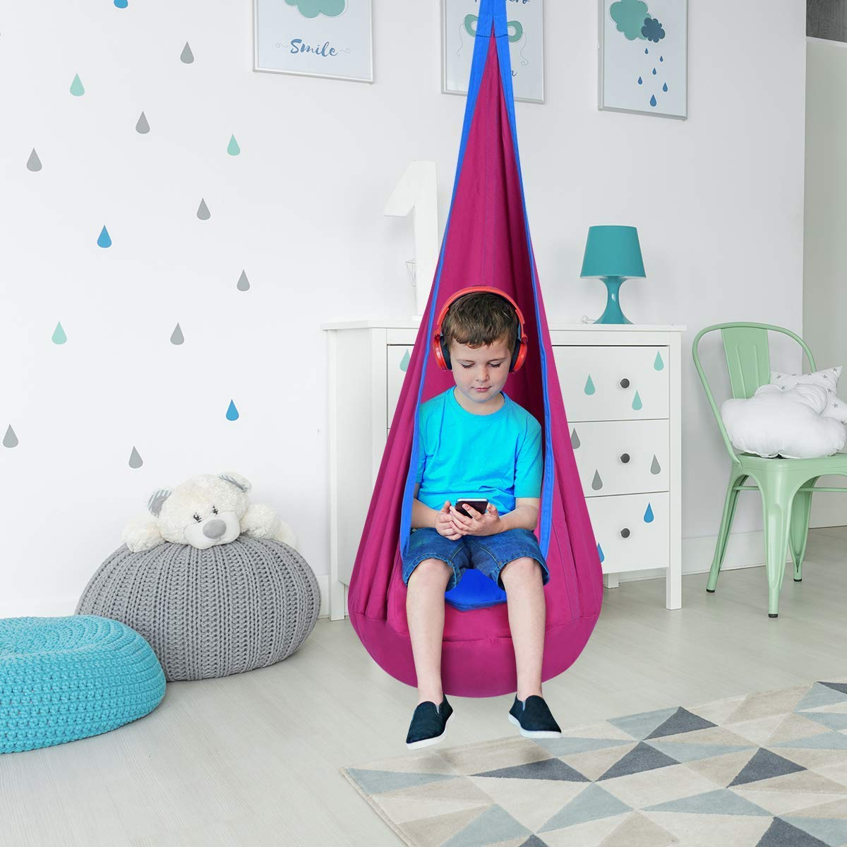 Brilliant Costzon Child Pod Swing Chair Tent Nook Indoor Outdoor Hanging Seat Hammock Kids Pabps2019 Chair Design Images Pabps2019Com