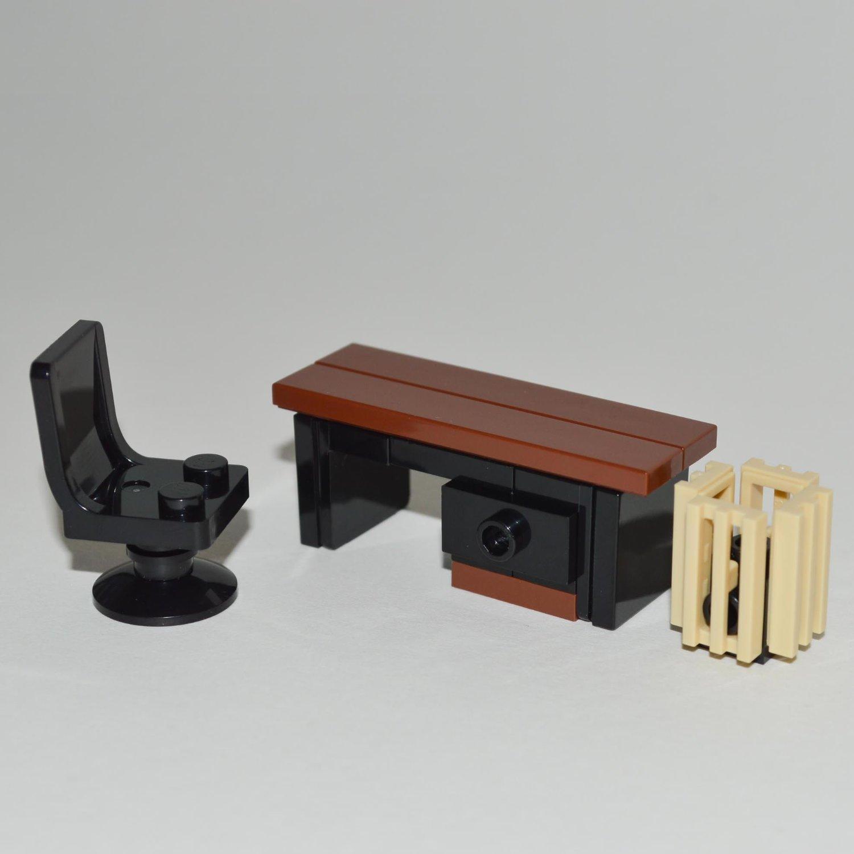 Amazon.com: LEGO Furniture: Custom Office Desk Set W/ Desk U0026 Chair + Waste  Basket: Toys U0026 Games