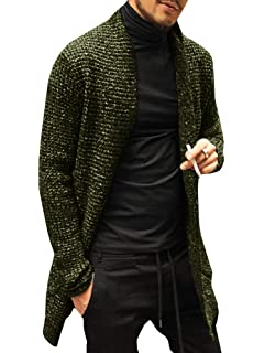 COOFANDY Mens Cardigan Sweaters Shawl Collar Chunky Long Sleeve Knit Trench Jacket