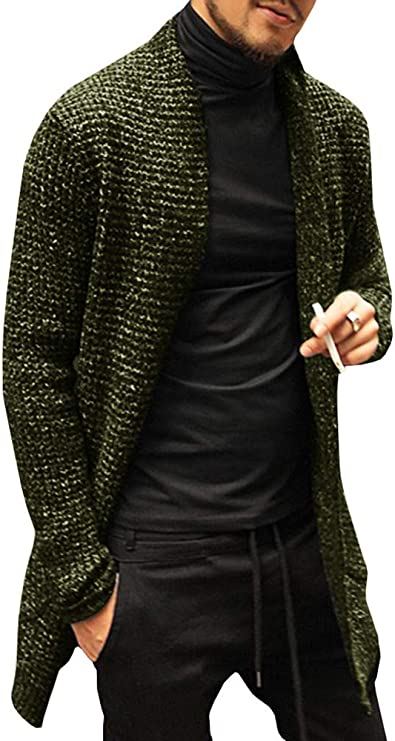 Pengfei Mens Cardigan Sweaters Open Front Cable Knit Long Sleeve Shawl Collar Coat Cardigans (Medium, Green) at Amazon Men's Clothing store