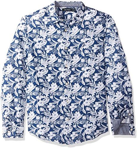 Nautica Men's Long Sleeve Print Pattern Button Down Linen Shirt, Estate Blue, XX-Large