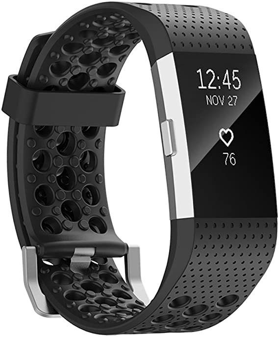 Band Replacement Wristband Strap TPU Silicone for Fitbit Charge 2 Black Size S