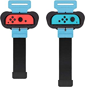 TiMOVO Bandas de Muñeca Compatible con Just Dance 2021/2019/2018 y & Nintendo Switch Zumba Burn It Up, [Kit de 2 pzs de Diferente Tamaño] Bandas de Muñeca Elástica Ajustable para Joy-con Controlador