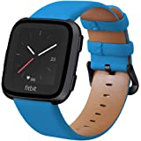 KADES for Fitbit Versa 2 Bands, Leather Band Replacement Strap Compatible with Fitbit Versa 2/Versa/Versa Lite/Versa SE for Women Men (Blue Band+Black Buckle)