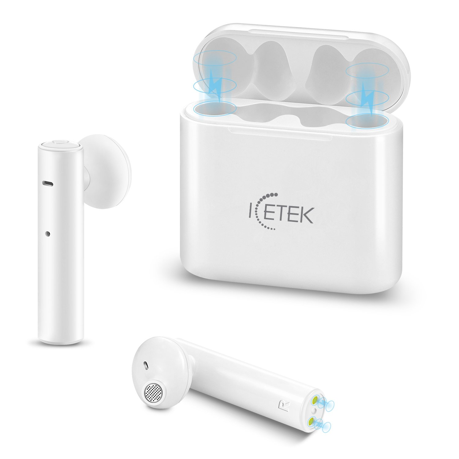 True Wireless Earbuds 2.0 ICEtek Second Generation Bluetooth in-Ear Headphones & Charging Case for iPhone iPad Android Phones Devices White Sweat Proof for Sports (Second Generation)
