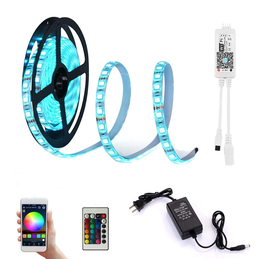 LED Strip Lights with Remote Waterproof RGBW Rope Light 16.4feet 300leds 5050SMD Color Changing Full Kit LDH 5050RGBW