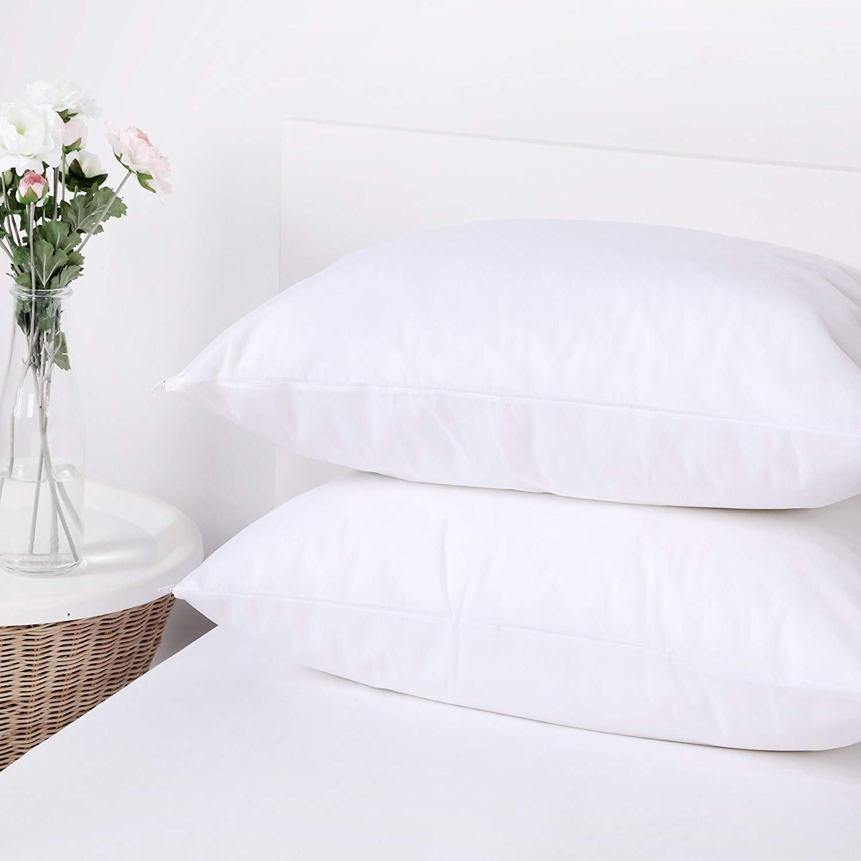 Dreamaker 2X Polypropylene Stain Water Resistant Pillow Protector Standard Size Zippered Pillowcase Cover Sham (2, Standard/Queen 20