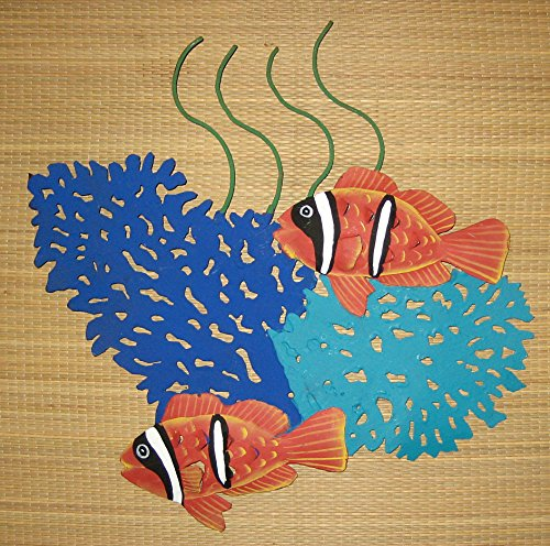 CORAL REEF CREATIONS Hand Painted Metal Art Queen Angel Fish and Fan Coral Wall Sculpture