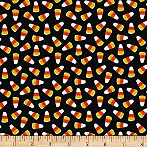 Ready Set Glow In The Dark Candy Corn Black Fabric By The Yard