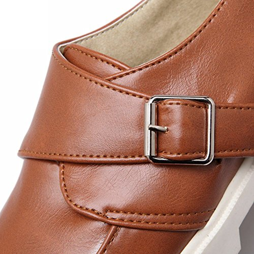 Carolbar Womens Fashion Casual Neutral Buckle Retro Comfort Flats Shoes Light Brown zeiVxypl5