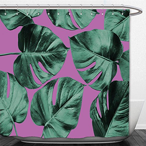 Beshowere Shower Curtain colorized monstera leaves in different color background abstract background ideal for wallpaper