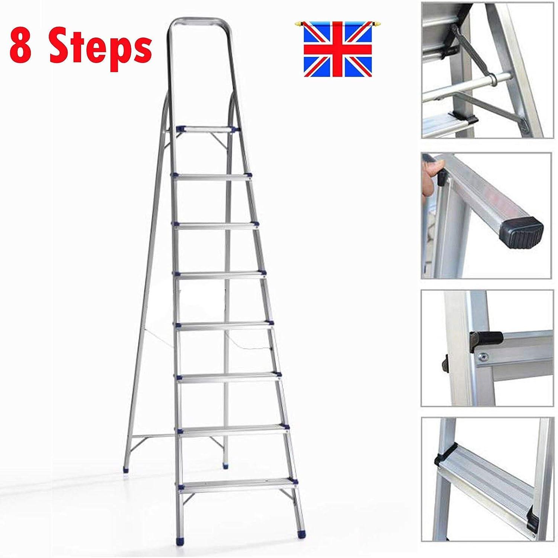 Escalera plegable de aluminio de 8 peldaños, peso ligero, soporta hasta 150 kg, pies antideslizantes, escalones amplios y cómodos: Amazon.es: Bricolaje y herramientas