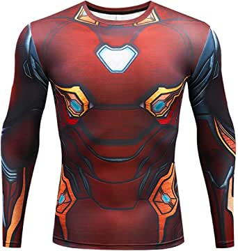 RONGANDHE Men's Super-Hero Compression Sports Fitness Tight T-Shirt Quick-Drying Running Cosplay