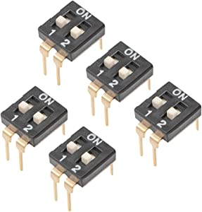 uxcell 5 Pcs Black DIP Switch Horizontal 1-2 Positions 2.54mm Pitch for Circuit Breadboards PCB