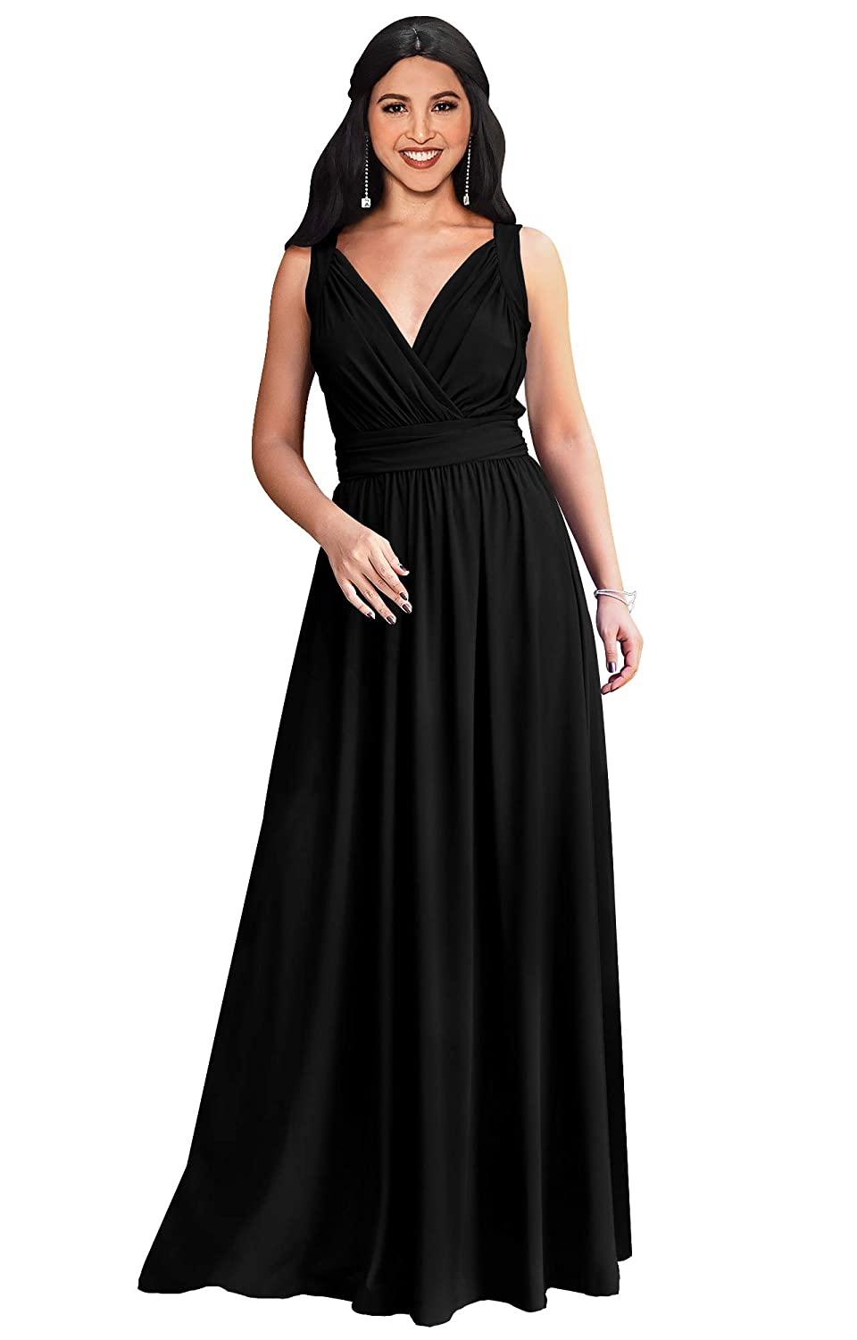 9f328e4aca4 KOH KOH Womens Long Sleeveless Flowy Bridesmaid Cocktail Evening Gown Maxi  Dress at Amazon Women s Clothing store