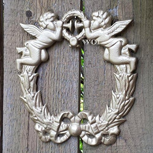 Cast Iron Golden Wreath W Ribbon Baby Angels Blowing Trumpet Divine Wall Plaque Divine Wall Plaque