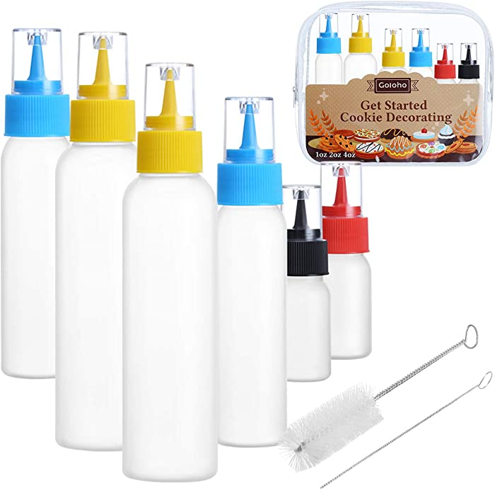 Writer Bottles, Cake Decorating Squeeze Bottles, 2 each(1, 2, and 4 ounce), Cookie Cutter, Food Coloring and Royal Icing Supplies