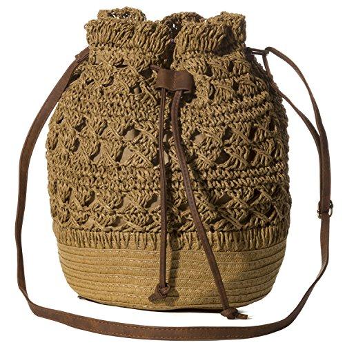 Handbag Republic Womens Summer Beach Straw Woven Purse Drawstring Bucket Style Shoulder Bag Crossbody - Bag Timeless Bucket