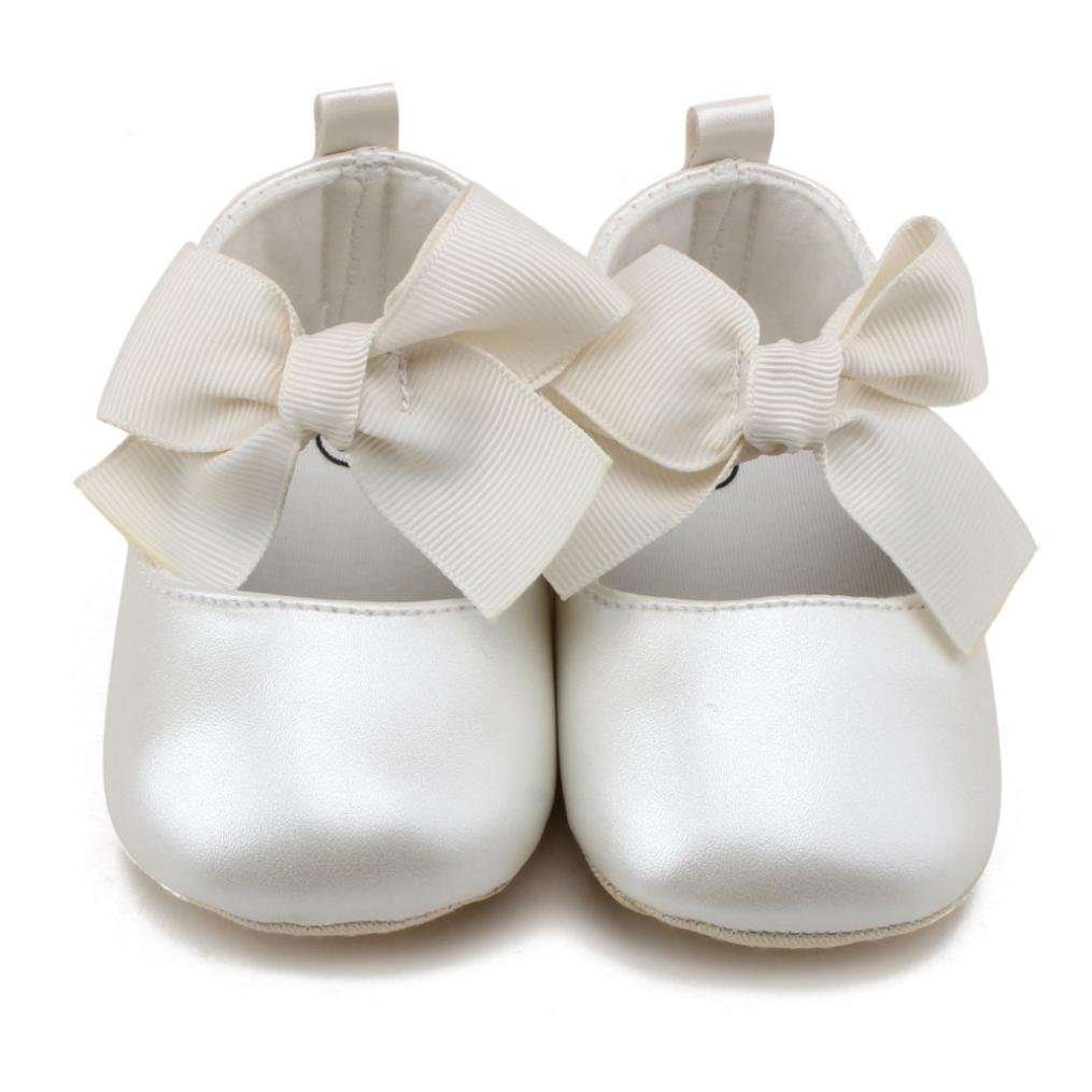 WARMSHOP Toddler Girls Genuine Leather First Walkers Soft Sole Bowknot Princess Casual Fashion Shoes