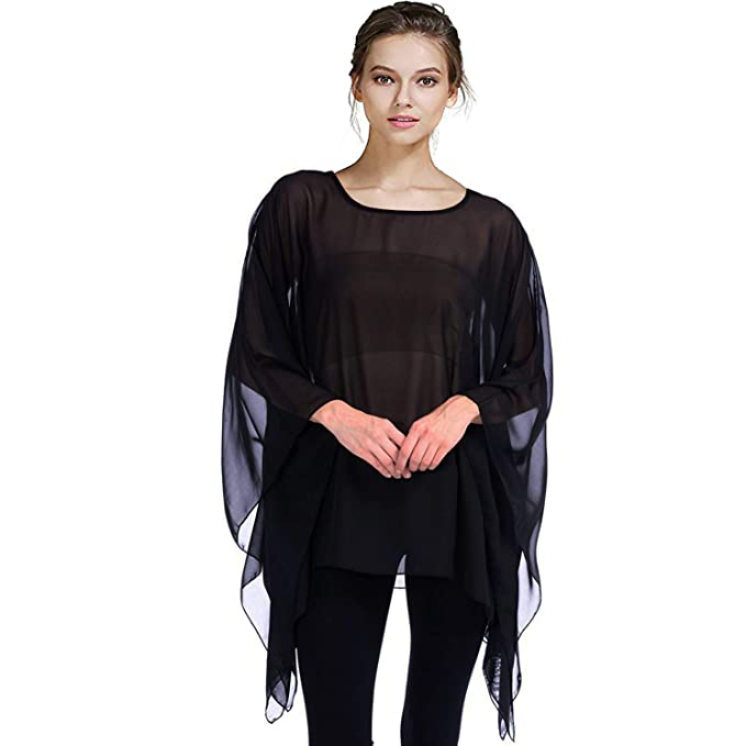 9aa456c857b121 Max Hsuan Womens Summer Solid Sheer Batwing Blouse Chiffon Caftan Poncho  Tunic Top Plus Size Cover