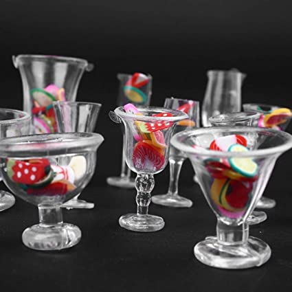 17pcs//Set Mini Transparent Drink Cups Dish Plate Tableware Miniatures DIY Toy