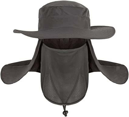 1Wide Brim Boonie Bucket Hat Quick Drying Fishing Cycling Sun Cap Full face Mask