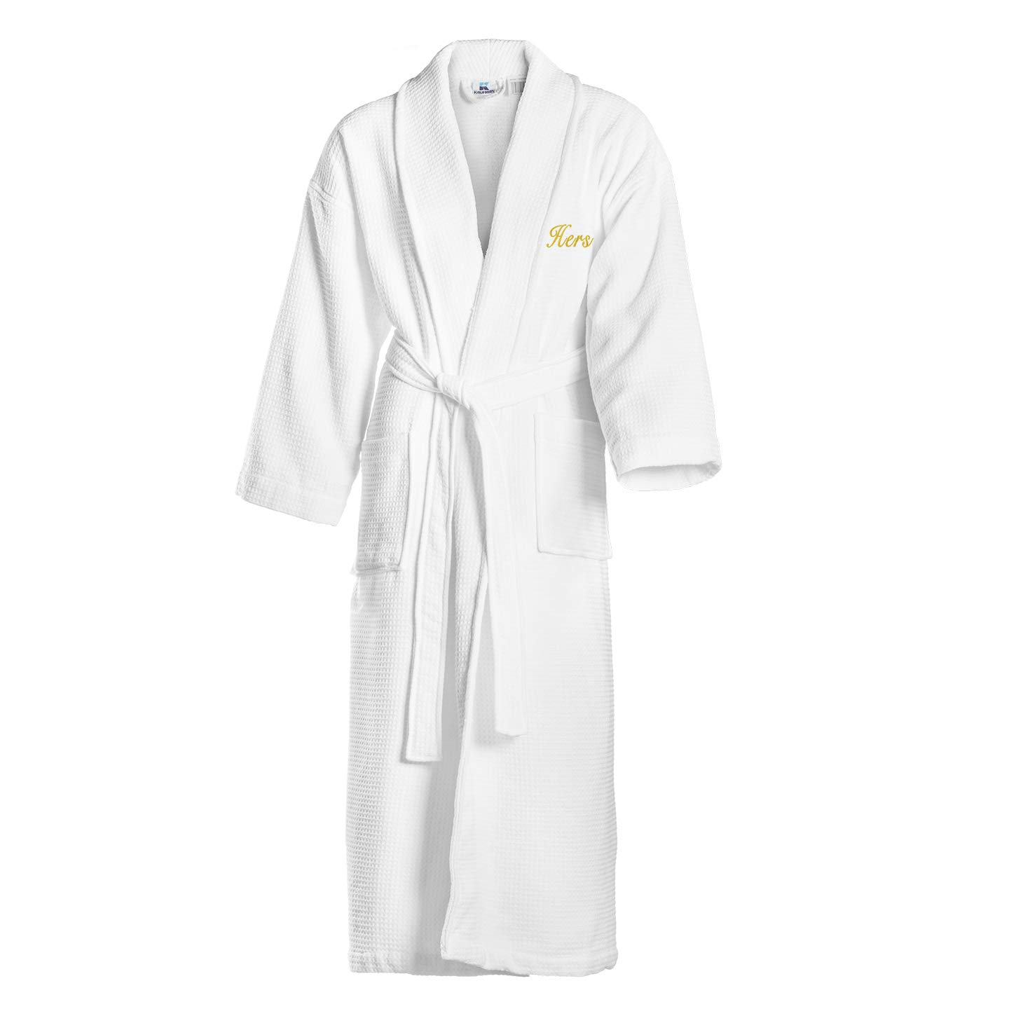 Kaufman - Terry Cloth Bathrobes 100% Cotton - His and Hers Embroidered Waffle Shawl Set of Robes with His and Hers White Towel Set 30''x58'' 4-PK by Ben Kaufman Sales (Image #3)