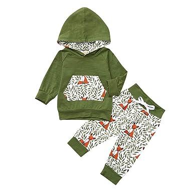 3091885051bca Robemon✬Hiver Ensemble Bébé Fille Garçon Vêtement Manches Long Cartoon  Feuilles Renard Impression Hoodies Sweatshirt