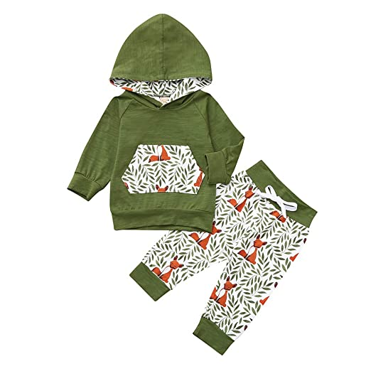 45ae1310b Amazon.com  kaiCran Toddler Baby Fox Sweatshirt Outfits Sets Long ...