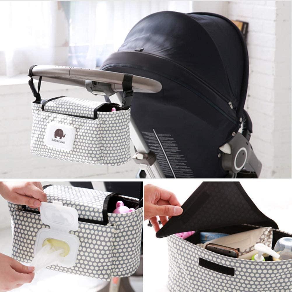 Bottle and Accessories Baby Stroller Organizer Storage Bag,Pram Buggy Hanging Bag with Adjustable Strap,Large Capacity Pushchair Organizer for iPhone Diapers Toys