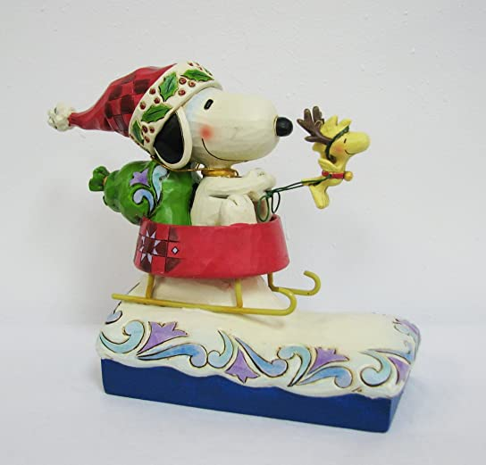 Enesco 4042373 Peanuts Snoopy Santa with Woodstock in Dog Dish Figurine