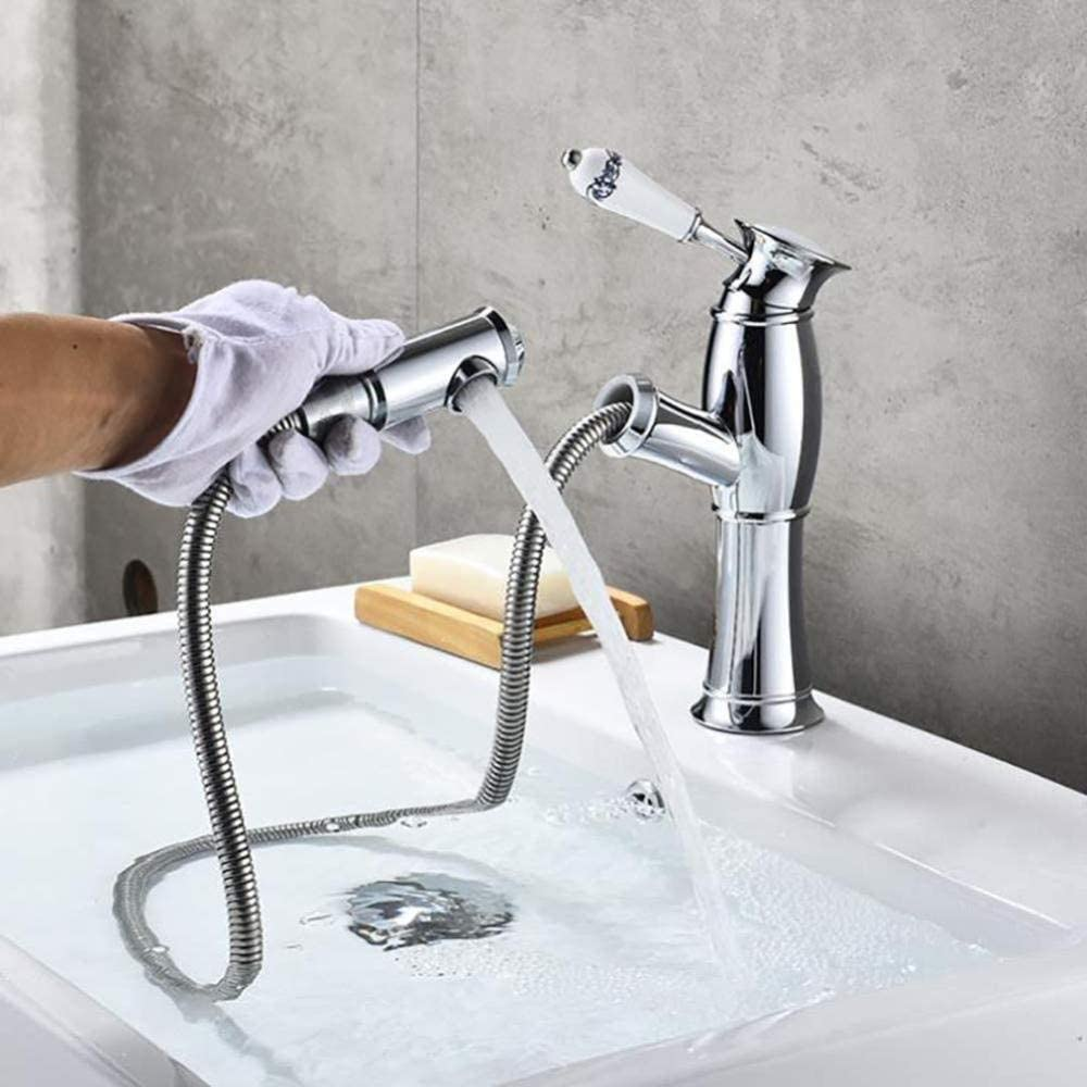 Yadianna Taps Hot and Cold Basin Faucet with Pull-Out Sprayer//Quality Bubbler