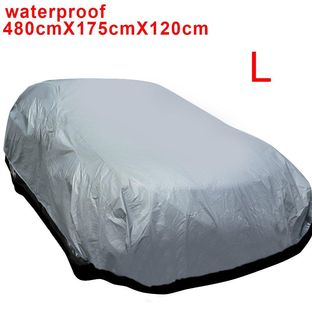 121CM MultiWare Auto Abdeckung Autogarage Ganzgarage Abdeckung Abdeckplane Autoplane Wasserdicht UV Sonne Regen Schutz Silber L:480 175