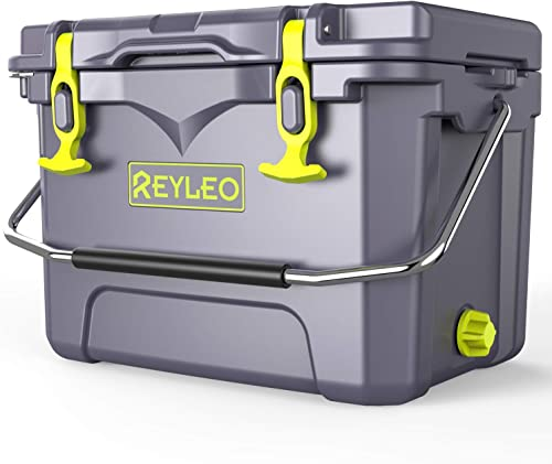 REYLEO Ice Chest Portable Rotomolded Arctic Cooler Keeps Ice Up to 3 Days Bear-Resistant 21-Quart Cooler Built-in Bottle Opener, Cup Holder, Fish Ruler for Camping, BBQs, Tailgating, Fishing