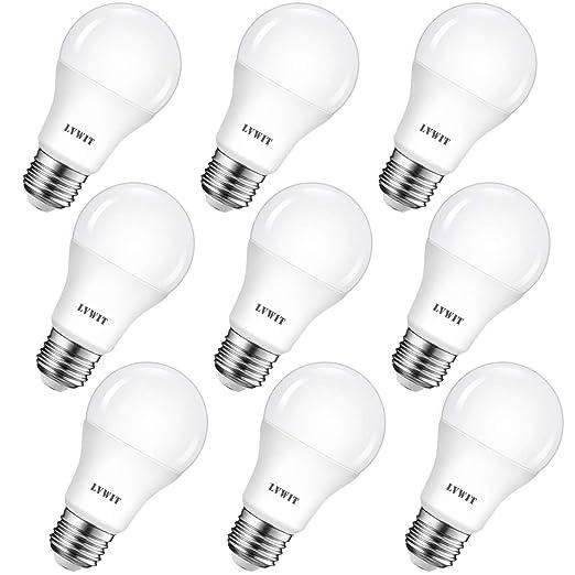 LVWIT Bombillas LED A60, Casquillo E27, 8.5W equivalente a 60W, 2700K Luz Blanca Cálida, 806 lm, Bajo consumo, No regulable - Pack de 9 Unidades.