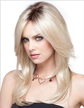 Long Ombre peluca rubia Natural recto Parting raices oscuras Cosplay peluca completa de alta temperatura de